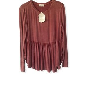 NWT Altar'd State Rusty Red Peplum Top Size Small